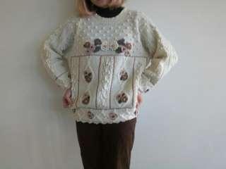 🚚 古著阿北日系針織立體花球毛衣