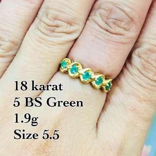 Genuine 18k Gold with Green Birth Stone