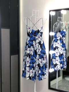 Litira Blue Floral Dress with Cross Back Straps