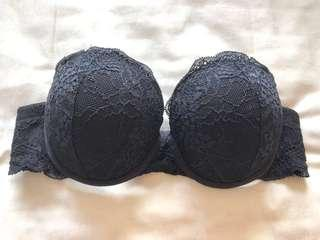 32a add 2 cups lasenza black lace strapless push up bra