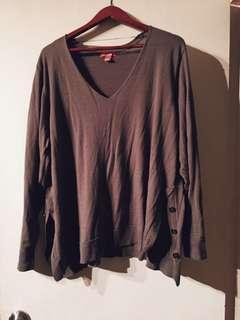 Side Button Slit V Neck Pullover Sweater