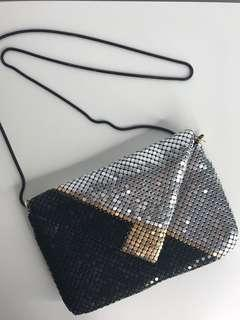 Vintage Tricolour Metal & Leather Evening Bag