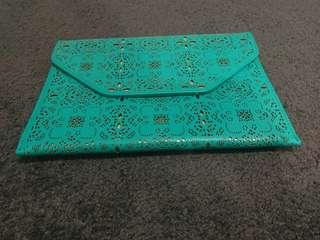 Turquoise and Gold Print Clutch