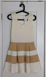 M for Mendocino L Cream Dress with Gold Horizontal Stripes