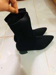 女神鞋尖头高跟短靴女袜靴粗跟弹力靴