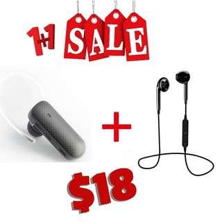 🚚 [ 1 + 1 PROMO!! ] Mono + Stereo BT Earphones with Control Talk & Mic