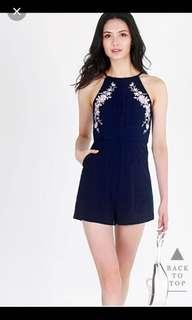 Lovet Athalie Embroidery Romper in Navy