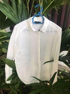 H&M white button up blouse/ formal shirt