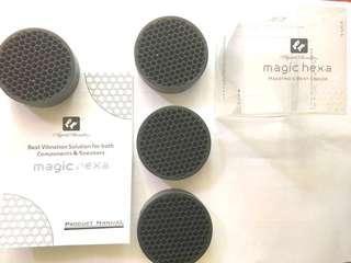 For hifi components: Magic hexa. Acoustic vibration pads x4