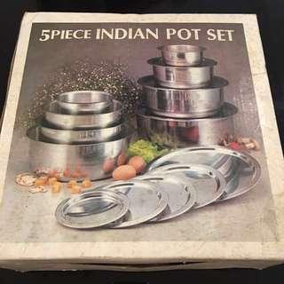 5 piece India pot set