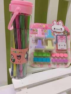 Marker and cute stamps SET