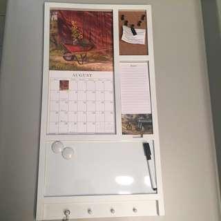 Whiteboard, Calendar, Cork board, Notepad, And Hook Storage Board