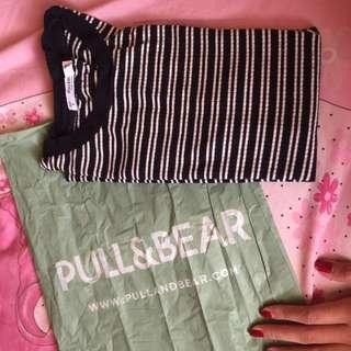 Pull & Bear Black & White Stripes Tee
