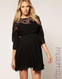 ASOS Maternity Black Lace Dress UK8
