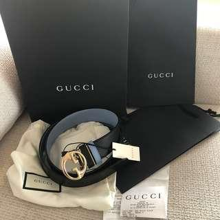🚚 全新正品 GUCCI 特別款雙色銀扣皮帶100CM