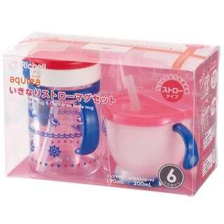 Pre-order : Richell Aqulea Straw Training Cup Set