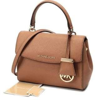 MK Bag Michael Kors Signature Logo Monogram Hand Bag Sling Bag Detachable Strap Women's Bag BROWN