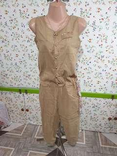 Brown jumsuit with floral accents