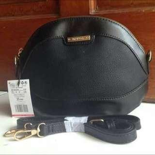 Mango Black Leather Sling Bag