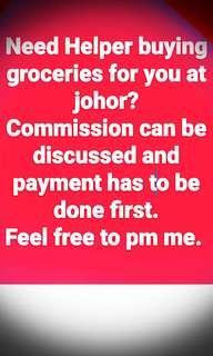 🚚 Helper buying your groceries at johor.meet-up woodland train checkpoint (taxi stand).if delivery to your door step-(extracharge$$)