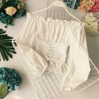 [PO] lace up waist off shoulder top
