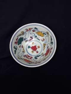 Ming era five color bowl deocrated with flowers 18 cm diameter.