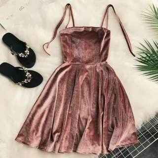 [PO] suede tie shoulder dress