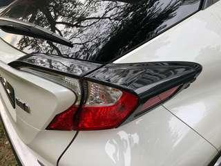 Toyota CHR rear tail lights carbon fibre cover