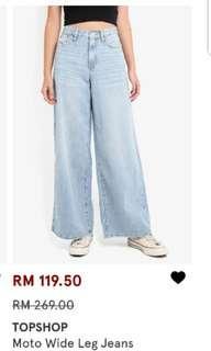 Topshop Wide Leg Jeans W25L30
