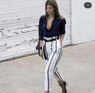 Navy blue top and stripes pants terno