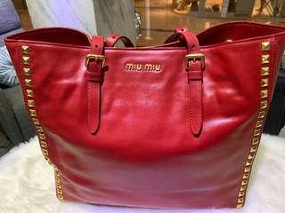 End end special Red leather Miu Miu tote