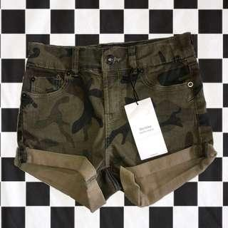 Bershka camo denim shorts