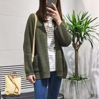 Forest Olive Green Knitted Oversized Cardigan Sweater