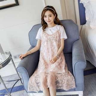 PO: Pregnant Maternity Lace Pink Blue Dress