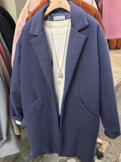 韓國製藍色夾棉大褸coat外套