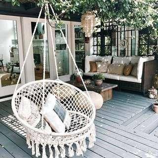 Fringed Cotton Rope Swing Chair Hanging Basket Cradle
