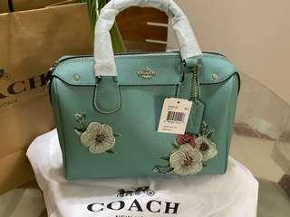 Authentic Coach Tiffany Blue Embroidery Crossbody
