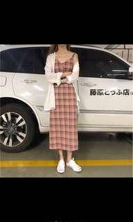 🚚 韓式森林系甜美格子洋裝