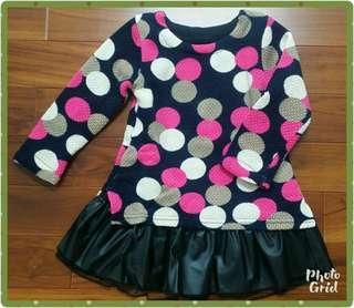 🚚 普普風大圓點皮裙長版上衣(3-4歲適穿)
