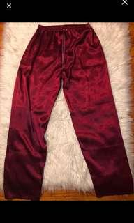 Satin/silk maroon pants