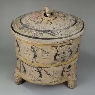 帶蓋高古陶罐