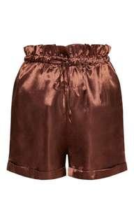 Brand new high waisted satin brown shorts