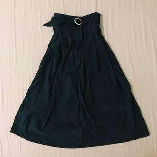正韓 墨綠絨質感 縮腰口袋 長裙