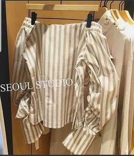 Brand New Korea Imported Off Shoulder Stripe Top