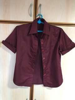 🚚 Free mailing! Maroon Formal shirt short-sleeve
