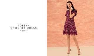 🚚 TCL Adelyn Crochet Dress (Berry)
