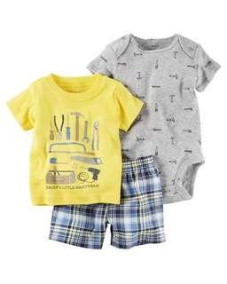 *18M Brand New Instock Carter's 3 Pc Little Shorts Set Rompers Onesies Bodysuit Pants Boys