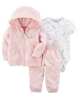 Brand New Instock Carter's 3 Pc Little Jacket Set Rompers Onesies Bodysuit Pants Girls