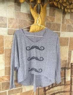 Mustache Batwing Top