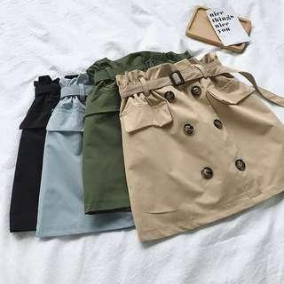 [PO] paperbag buttons skirt